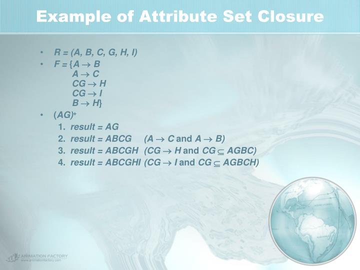 Example of Attribute Set Closure