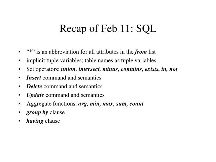 Recap of feb 11 sql