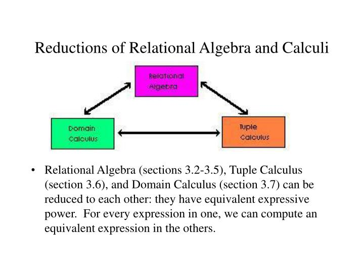 Reductions of Relational Algebra and Calculi