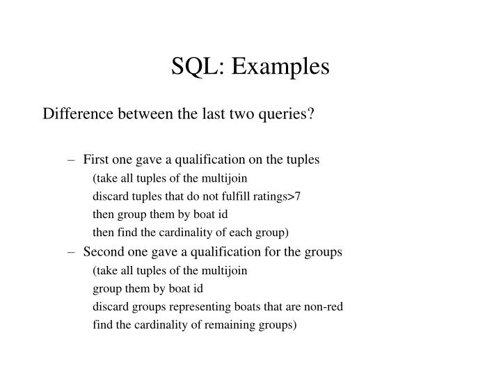 SQL: Examples