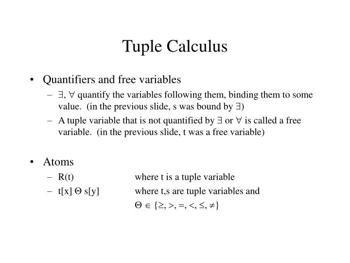 Tuple Calculus