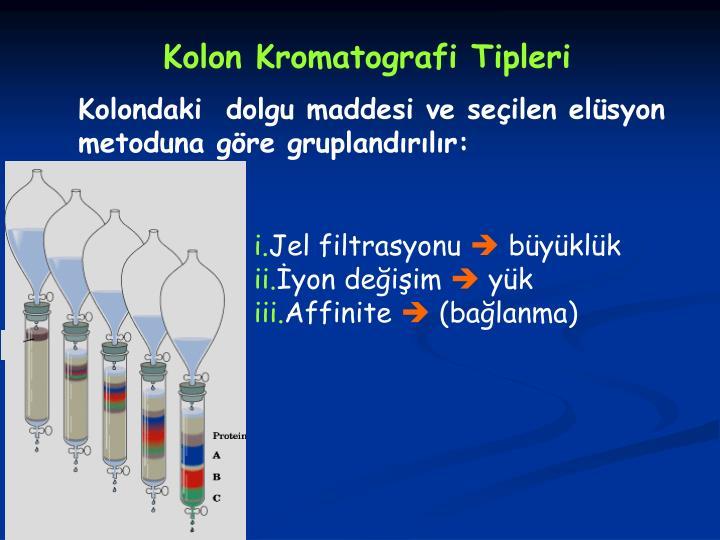 Kolon Kromatografi Tipleri