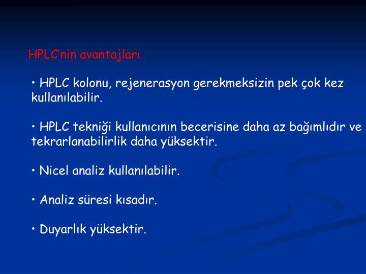 HPLC'nin avantajları