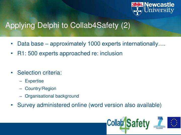 Applying Delphi to Collab4Safety (2)