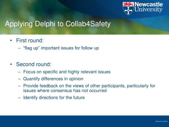 Applying Delphi to Collab4Safety