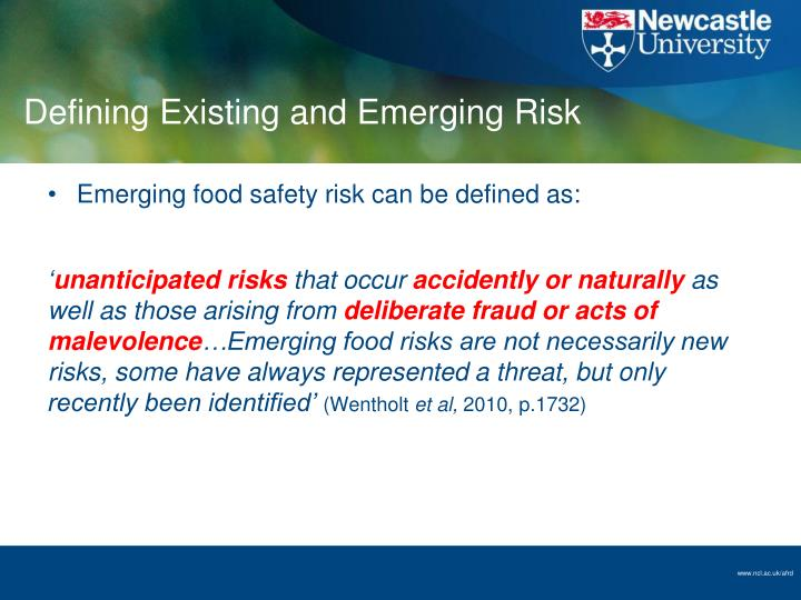 Defining Existing and Emerging Risk