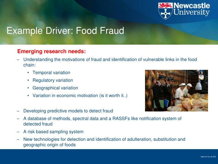 Example Driver: Food Fraud