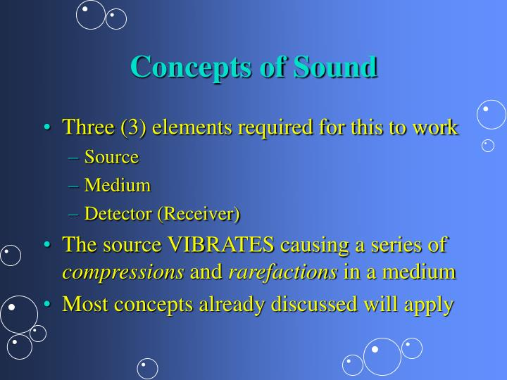 Concepts of Sound