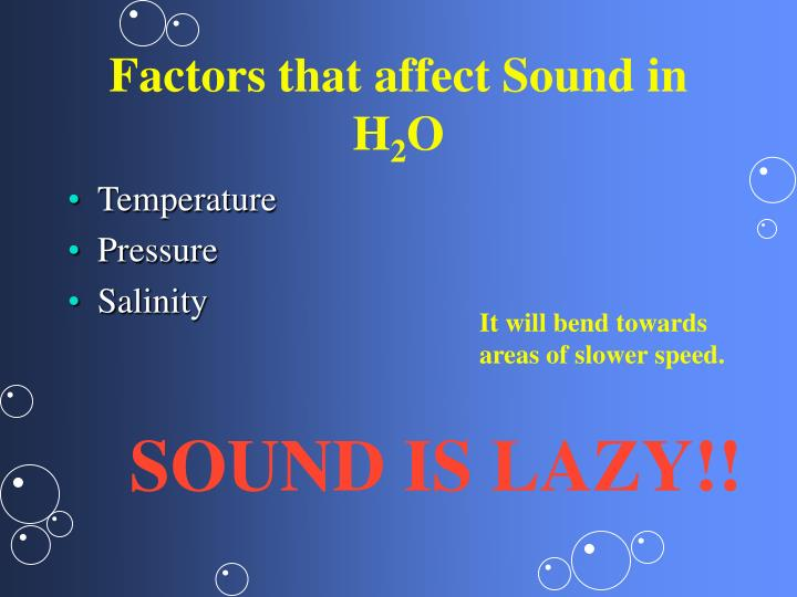 Factors that affect Sound in H