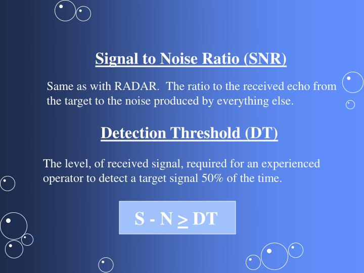 Signal to Noise Ratio (SNR)