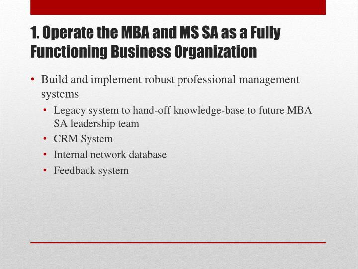 1. Operate the MBA and MS SA as a Fully Functioning Business Organization