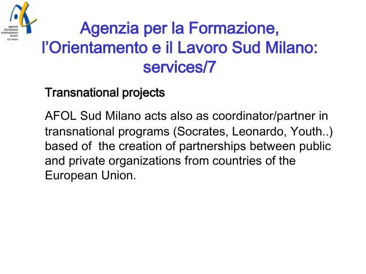 Agenzia per la Formazione, l'Orientamento e il Lavoro Sud Milano: services/7