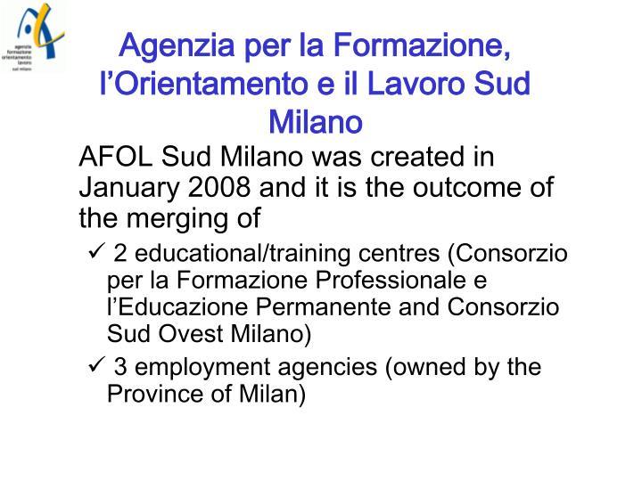 Agenzia per la Formazione, l'Orientamento e il Lavoro Sud Milano