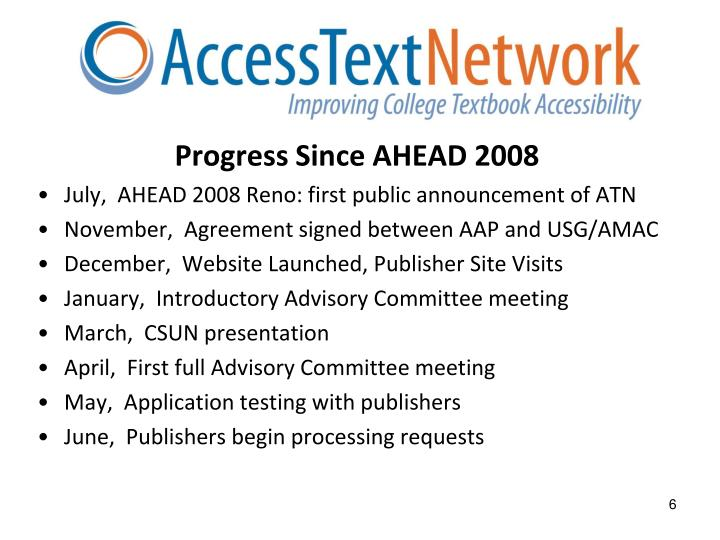 Progress Since AHEAD 2008