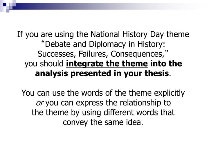 If you are using the National History Day theme