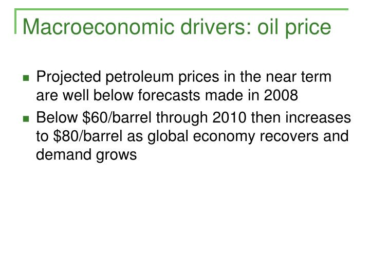 Macroeconomic drivers: oil price