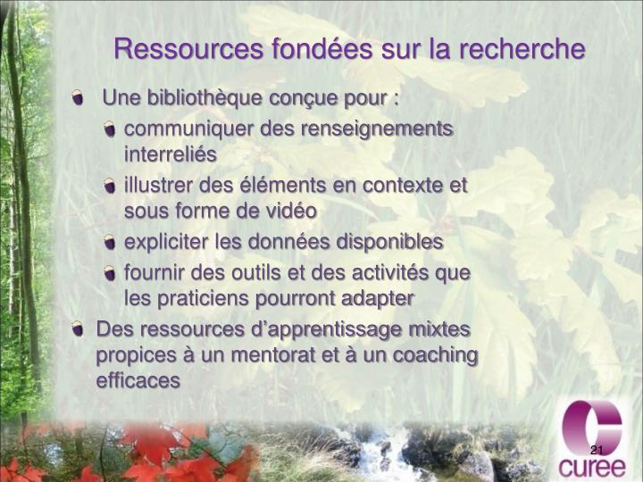 Ressources fondées sur la recherche