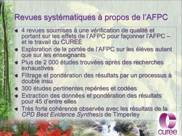 Revues systématiques à propos de l'AFPC