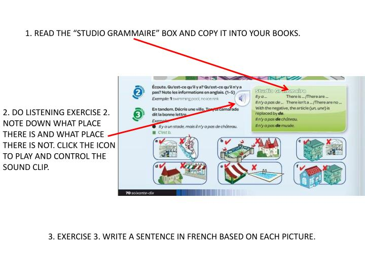 "1. READ THE ""STUDIO GRAMMAIRE"" BOX AND COPY IT INTO YOUR BOOKS."