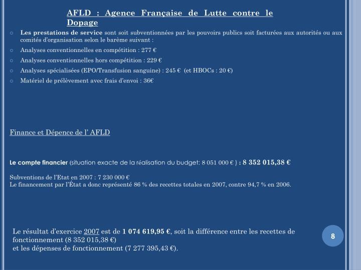 AFLD: Agence Française de Lutte contre le Dopage