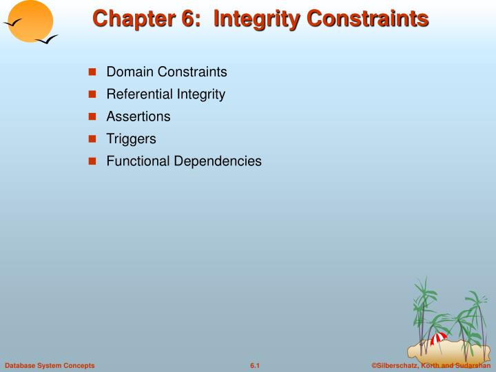 Chapter 6 integrity constraints