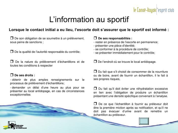 L'information au sportif