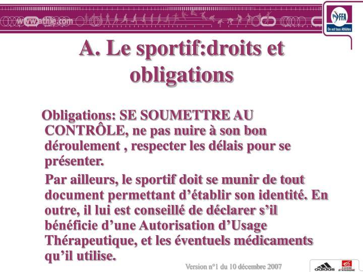 A. Le sportif:droits et obligations
