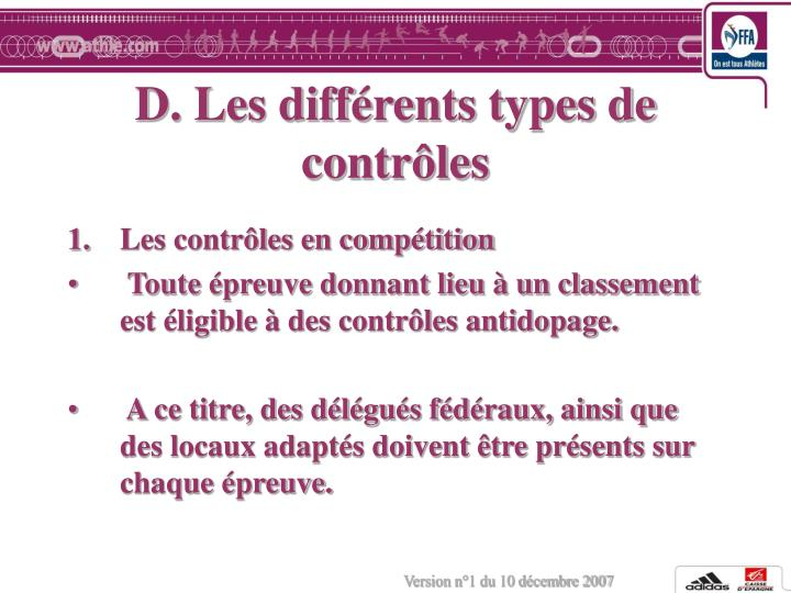 D. Les différents types de contrôles