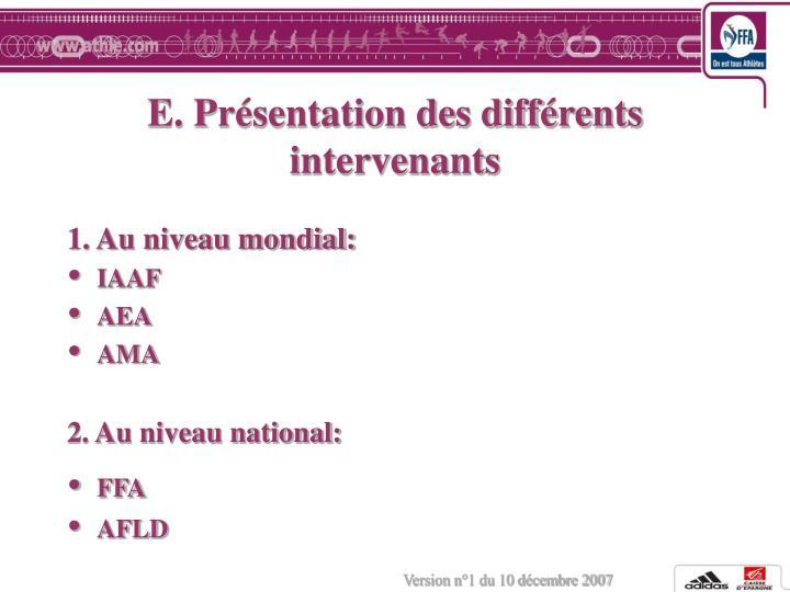 E. Présentation des différents intervenants
