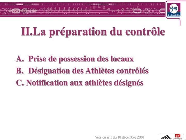 II.La préparation du contrôle