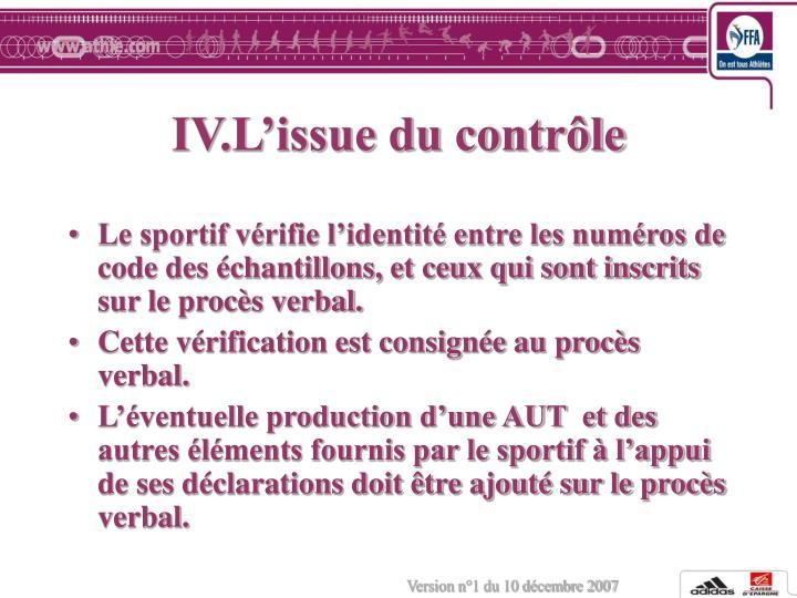 IV.L'issue du contrôle