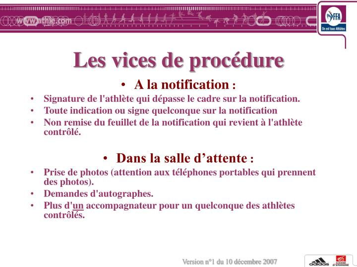 Les vices de procédure