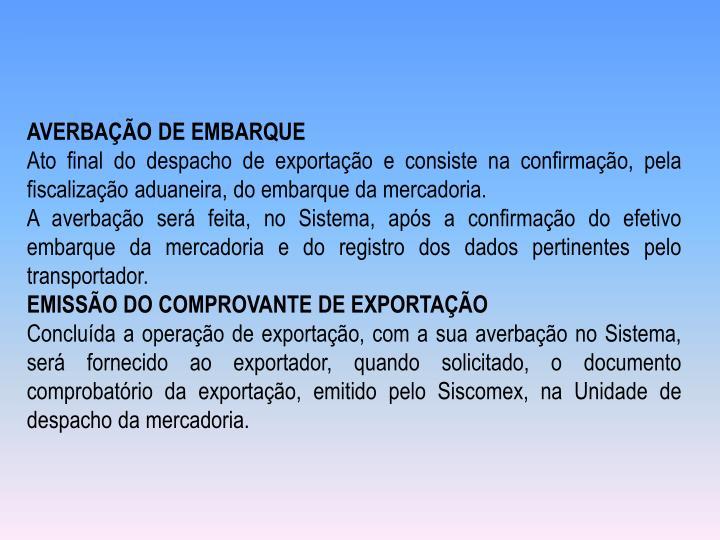 AVERBAÇÃO DE EMBARQUE