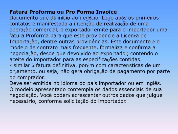 Fatura Proforma ou Pro Forma Invoice