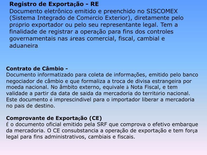 Registro de Exporta