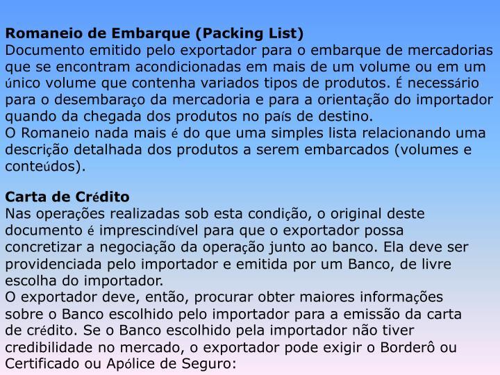 Romaneio de Embarque (Packing List)