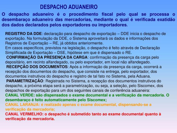 DESPACHO ADUANEIRO