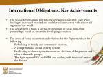 international obligations key achievements