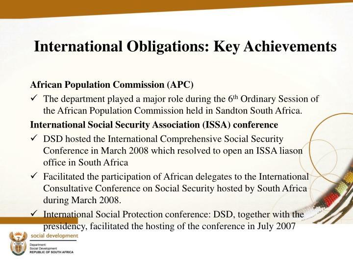 International Obligations: Key Achievements