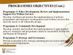 programmes objectives cont
