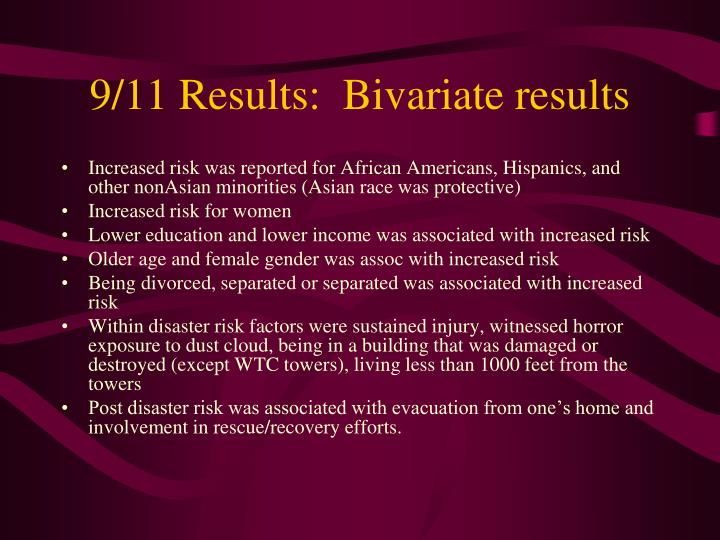 9/11 Results:  Bivariate results