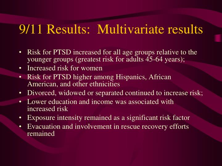 9/11 Results:  Multivariate results