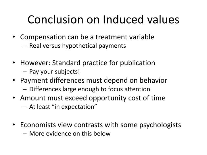 Conclusion on Induced values