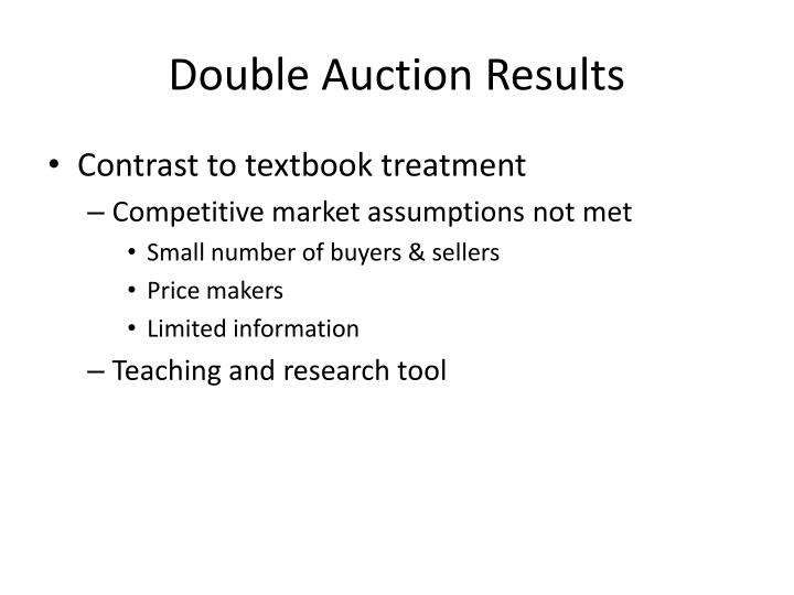 Double Auction Results