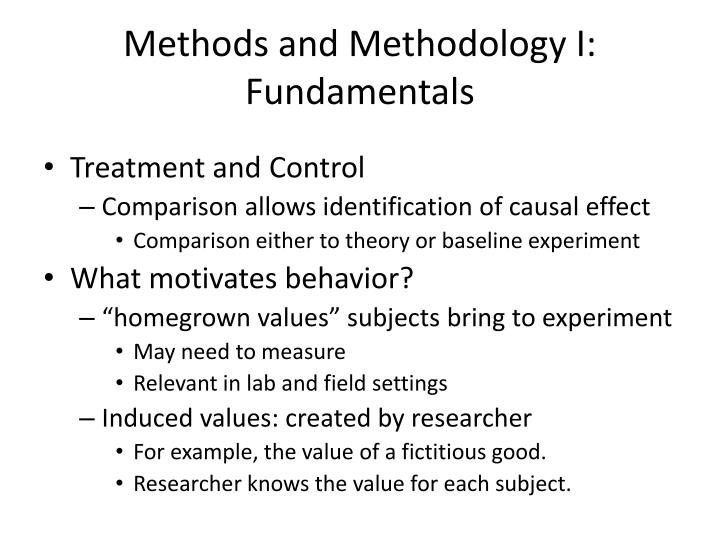 Methods and Methodology I: Fundamentals