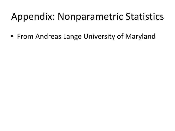 Appendix: Nonparametric Statistics
