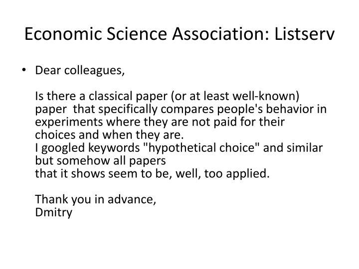 Economic Science Association: Listserv