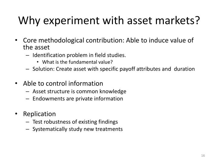 Why experiment with asset markets?