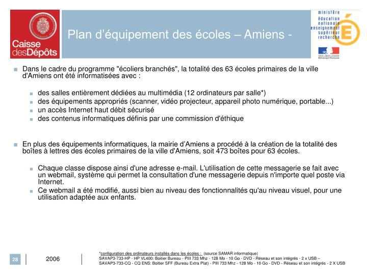 Plan d'équipement des écoles – Amiens -