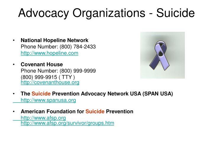 Advocacy Organizations - Suicide